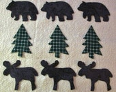 Set of 9  Moose, Bear,  Pine Tree Iron-on/Sew-on  Quilting Clothing Fabric Appliques  ...Make Your Own Quilt Blocks