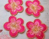 4 Pieces of Embroidered Hot Pink Cherry Blossom Iron On Patches Free Shipping