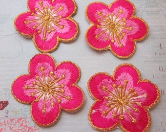 4 Pieces of Embroidered Cherry Blossom Iron On Patches You Can pick your Color