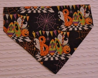 Halloween Dog Bandana with Boo and Ghots Sizes S to XL in Over Dog Collar Style