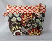 On Sale Cosmetic Bag, Zipper Pouch, Makeup Pouch, Makeup Bag, Zippered Bag Geisha Fans Olive - Amy Butler Fabrics Ready to Ship