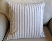 COTTAGE CASUAL Organic cotton in french blue color stripes pillow 20x20 insert included