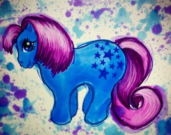 ORIGINAL My Little Pony G1 Watercolor 8x10 Bluebelle 80's toys vintage love