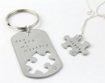 Valentine's Day Gift - You Are My Missing Piece - Hand Stamped Personalized Puzzle Piece Keychain and Necklace - Matching Couple's Gift