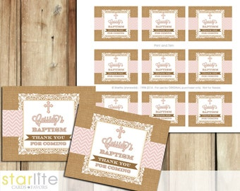 Baptism Favors Tags, cupcake toppers - burlap lace chevron pink, girl - blessing, christening, dedication - first communion, printable