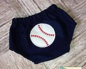 Baseball Applique Diaper Cover