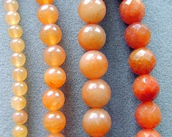 Beads, Gemstone, Aventurine, Peach, Strand, 4mm, 8mm, 12MM, Round, 8mm Faceted, Natural, I
