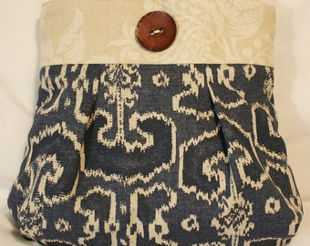 Blue Ikat Purse Tote Bag Handbag