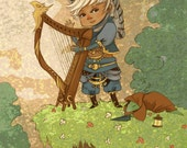 Adventuring Bard with Harp 5x7 game-inspired art print featured image