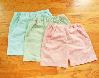 Toddler and Youth Boys Seersucker shorts with pockets - COLOR CHOICE - 12 months to size 8