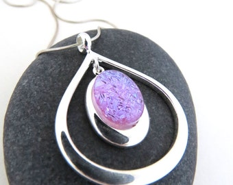 Teardrop Necklace - Fused Glass and Silver - Icy Pastel Purple Necklace - Periwinkle Purple Necklace - Ready to Ship