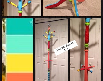 Whimsical Painted Furniture,  Personalized Hand Painted Coat Rack Clothes Tree Childrens Adult