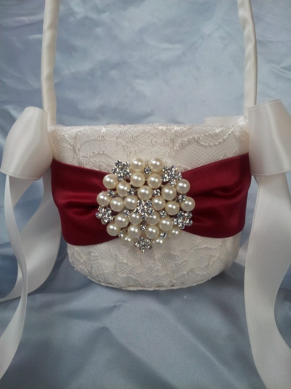 Flower Girl Baskets Ivory Uk : Ivory flower girl basket dark red pearl
