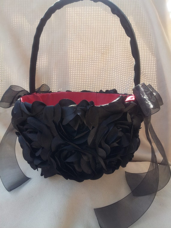 How To Make A Flower Girl Basket With Fabric : Black red flower girl basket gothic rose