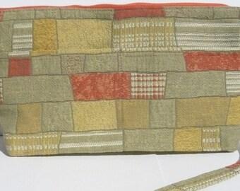 Original Handmade Sage, Tangerine, Mustard Fabric Shoulder Purse