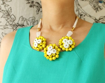Flower bib Necklace, lemon yellow flower statement necklace, floral bib necklace