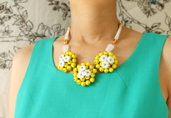 Flower bib Necklace, lemon yellow flower statement necklace, floral bib necklace