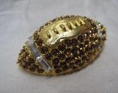 Football Rhinestone Brooch Brown Gold Clear Pin Pell Vintage