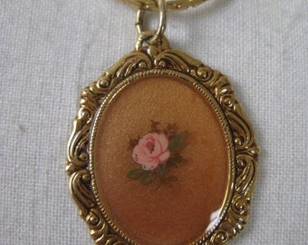 Pink Rose Amber Necklace Gold Flower Pendant Vintage