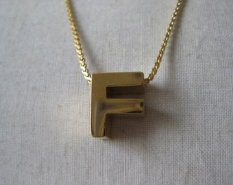 Gold F Initial Necklace Letter Vintage