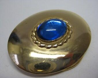 Blue Gold Scarf Clip Vintage