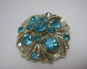 Flower Aqua Blue Brooch Rhinestone Vintage Light Gold Pin