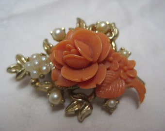 Flower Rose Coral Orange Pearl Brooch Gold Plastic Vintage Pin