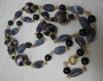 Purple Black Gold Bead Necklace Glass Vintage