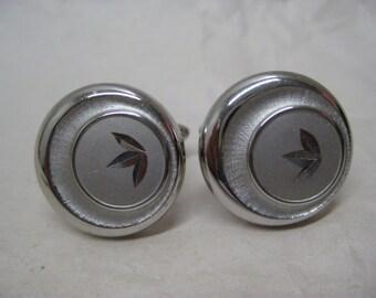 Silver Cuff Links Vintage Round