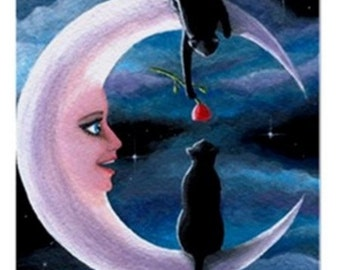 Fridge Magnet Print ACEO from my original painting black Cat 581 moon fantasy by Lucie Dumas