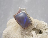 Large Sterling Opal Ring Abstract Jewelry Phil Zachary R5958