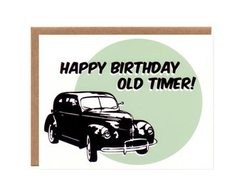Old Timer Vintage Car Birthday Card -- Funny, Recycled, Blank Card