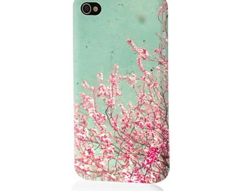 Blossom. Hard Case for iPhone 4/4S, 5/5S, 5c and Samsung Galaxy S3, S4. Floral, Flower Photography, Pink and Green