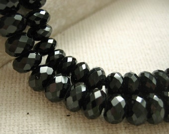 Black Spinel Gemstone Top Quality Faceted Rondelle Beads Graduated 3.5 to 5.5mm - Half Strand 8 inches