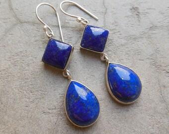 Dangler earrings - Lapis lazuli earrings- Lapis earrings -  Bezel set earrings - artisan earrings- Gemstone earrings - Gift for her