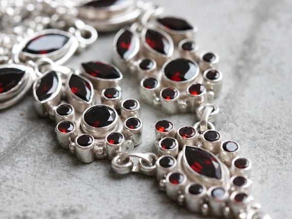 Statement Garnet Necklace - Artisan necklace - Ethnic necklace - Bezel set necklace - Gemstone necklace