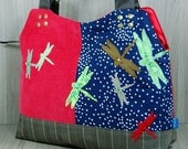 Medium Grab Bag - Hand Bag - Ladies Purse - Dragonflies - With Zip - Brown - Navy Blue - Green - Red - Zip - Inside Pockets