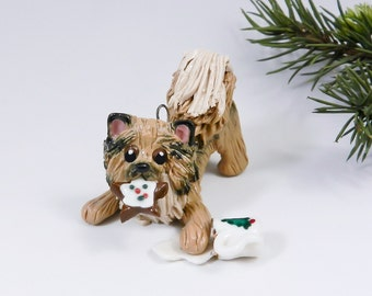 Pomeranian Sable Christmas Ornament Figurine Santa's Milk Porcelain
