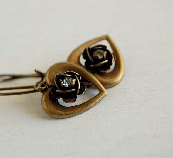 READY TO SHIP - vintage brass heart and rose earrings rhinestone flower dangle earrings - my vintage romance