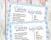 Blue Chevron Celebrity Baby Shower Game Instant Download