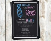Chalkboard Beau or Bow Style Gender Reveal Invitations