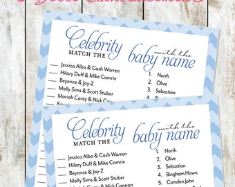 Blue Chevron Celebrity Baby Shower Game Instant Download- Baby Shower Printable