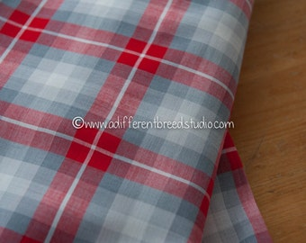 Red and Grey - Vintage Fabric Multi-Colored Checked 60s 70s Christmas Preppy Traditional