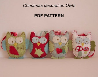 PDF PATTERN Owl Christmas decorations