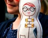 Aiden the Owl - Linen doll plush toy, Nursery Decor