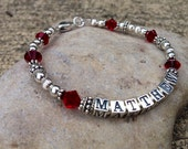 Personalized Mother Name Bracelet Mommy Mom Grandma Sterling Silver  Bracelet- Swarovski Crystal