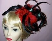 Custom Made Red and Black Feather Headband By Taissa Lada Designs,Red Hackle Feathers,Black Iridescent Coque Feathers,Burlesque,Vaudeville