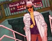 "Borough Hall - 19"" x 13"" Fine Art Illustration Print by Jonny Ruzzo"