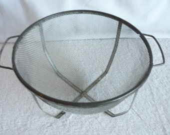 Vintage metal strainer, mesh strainer with stand, colander, rustic, farmhouse, country cottage,