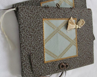 Gold Lattice Aqua Jacquard Fabric Book Cover and Journal Set